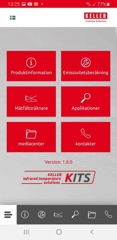 KITS app meny