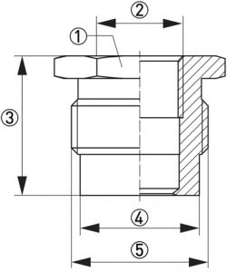 Hygienisk processadapter KPH1-32CB dimensioner