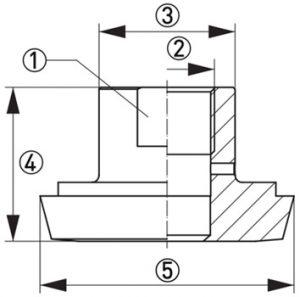 Hygienisk processadapter KPH3-3224 Dimensioner