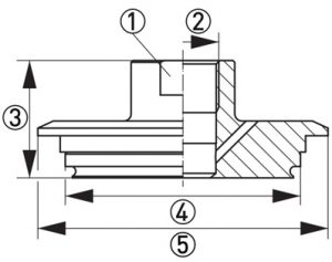 Hygienisk processadapter KPH3-324E dimensioner
