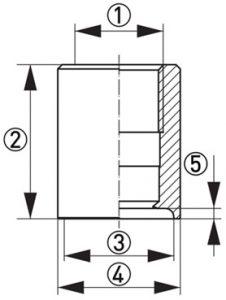 Hygienisk processadapter KPW2-326 Dimensioner