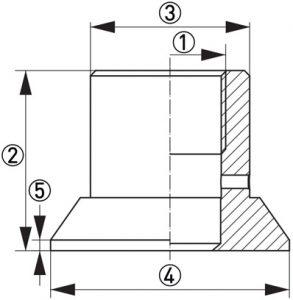 Hygienisk processadapter KPW3-322 dimensioner